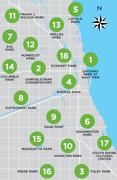 Chicago Shakespeare in the Parks 2013 Map