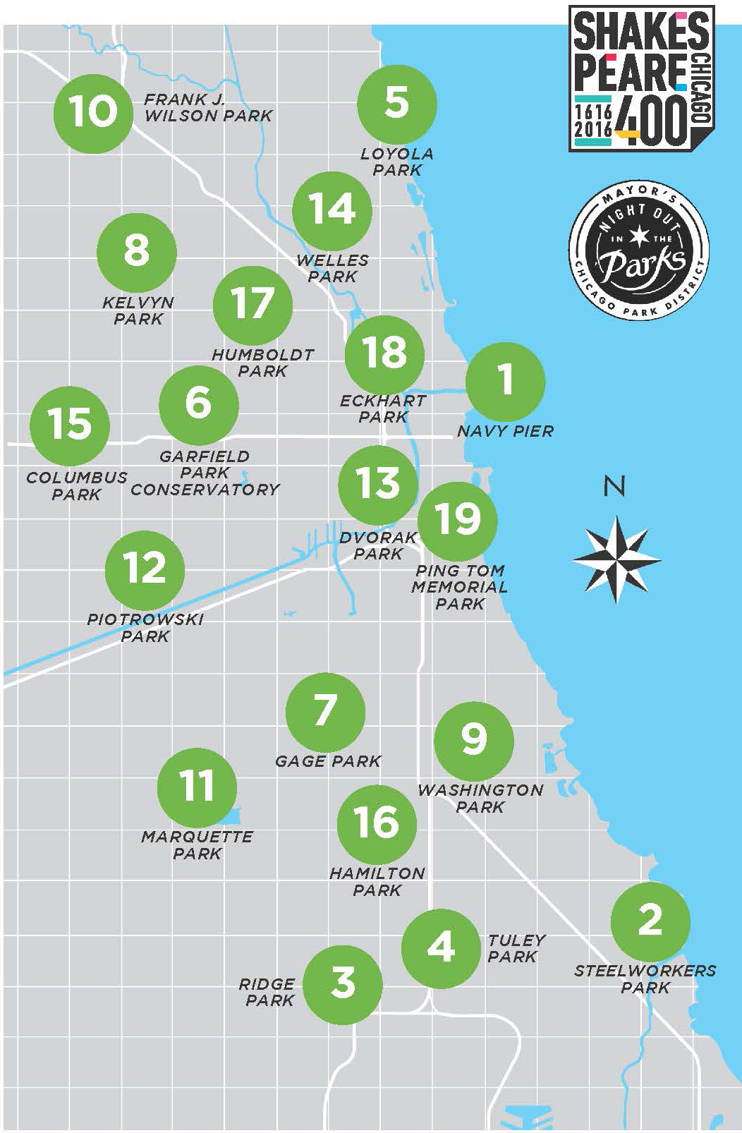 Map of Chicago Shakespeare in the Parks 2016